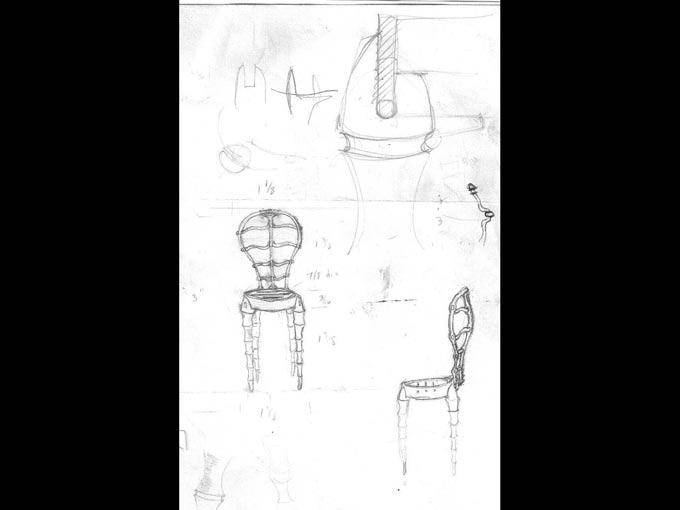 Chris Shea making a forged chair: Original design sketch